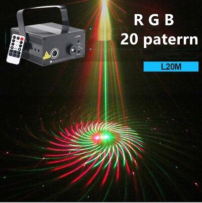 Remote Red and Green 20 Patterns Blue LED Outdoor Laser stage Light Projector DJ