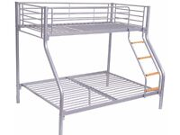 BRAND NEW JOY METAL BUNK BED FRAME SINGLE DOUBLE TRIPLE CHILDREN SLEEPER BUNKBED WITH MATTRESSES