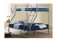 BRAND NEW ALASKA TRIO METAL BUNK BED FRAME SINGLE DOUBLE CHILDREN SLEEPER BUNKBED WITH MATTRESSES