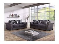 NEW SHANNON 3 & 2 SEATER SOFA SET BLK/GREY ,CHROME FEET & FOAM SEATS FOR £359.99 WITH FREE DELIVERY