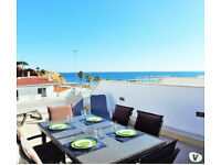 Albufeira rooftop apartment on the beach, swimming pool + 2 terraces + parking