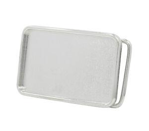 Polished SILVER Rectangle Belt Buckle Blank - Add your Own Design - Custom DIY