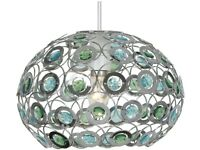 Oaks Lighting Tulsa Chrome with Blue and Green Acrylic Drops Dome