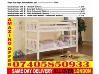 SINGLE AND DOUBLE WOODEN BUNK - BED WITH MATTRESS Cowpens