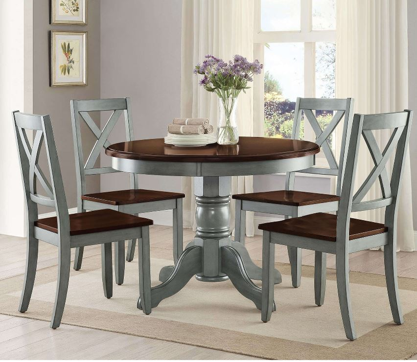 Rustic Round Dining Set 5 Pc Farmhouse Vintage Style Wood Table Chairs Kitchen For Sale Online Ebay