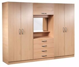 **7-DAY MONEY BACK GUARANTEE!** - Assembled Wardrobe Fitment, 4 Doors With Dresser and Mirror
