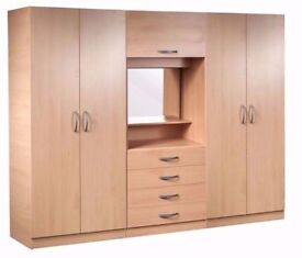 ORDER NOW 4 DOOR BUDGET WARDROBE FULLY ASSEMBLED BEST QUALITY SAME DAY DELIVERY ALL OVER LONDON