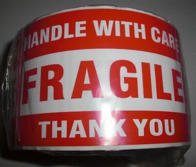Fragile Handle With Care Thank You 3x5 Red Large Sticker 10-20-50 Labels Lk
