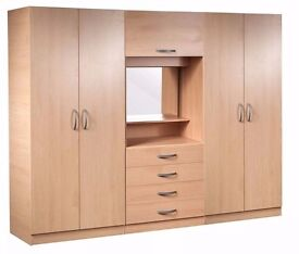 **100% GUARANTEED PRICE!**BRAND NEW Ready Built Fitment Wardrobe with Dressing Table and Mirror