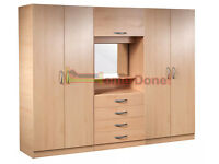 **7-DAY MONEY BACK GUARANTEE!** - Farren 4 Door Wardrobe with Dressing Table -SAME/NEXT DAY DELIVERY
