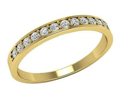 Natural Diamond Wedding Anniversary Ring 0.25Ct I1 H Prong Set 14Kt Yellow Gold