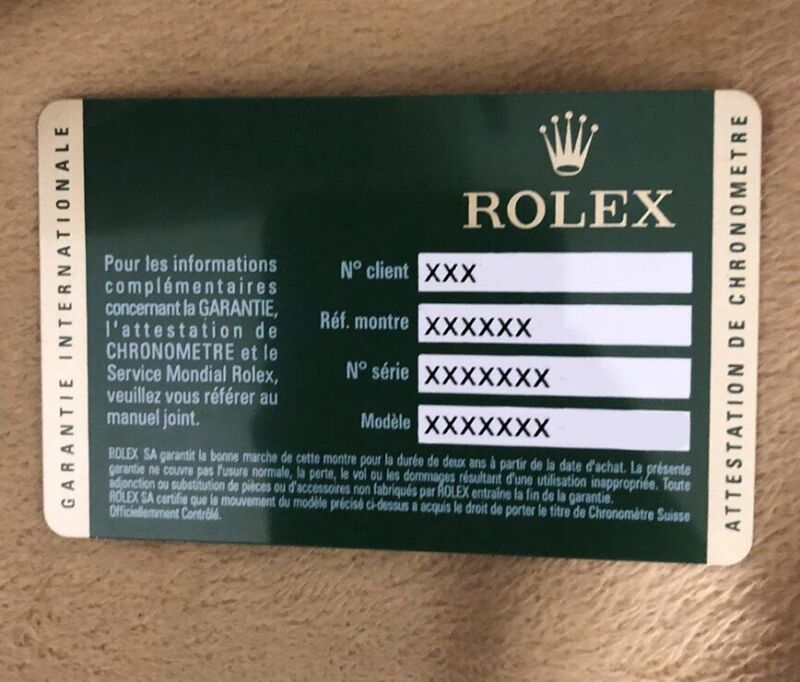 Rolex Warranty Classic Card  - Limited Avail (First Generation)