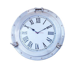 Ships Cabin Porthole Clock Brushed Nickel Finish 17 Aluminum Hanging Wall Decor