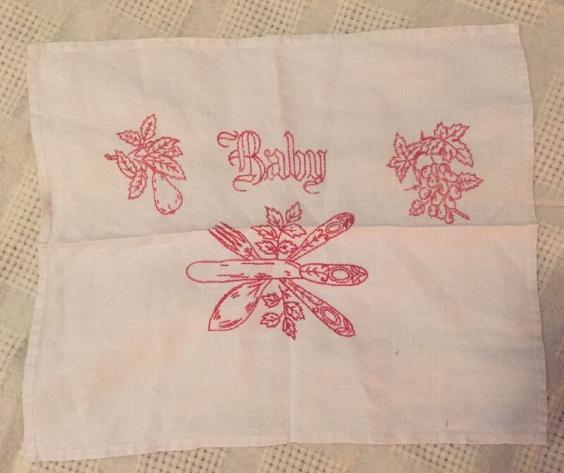 RED WORK CROSS STITCH Vintage BABY Place Mat OR Table Scarf EMBROIDERY