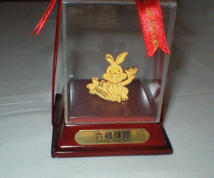 Gold Bunny Rabbit In Original Sealed Display Case - Lukfook Jewellery - $1,200.00