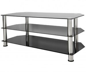 Black Gloss Glass TV Stand Suitable For LCD LED TVs 30 - 60