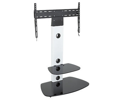 Satin White TV Stand Cantilever With TV Mount Bracket for 32 - 60""