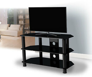 Black Gloss Glass TV Stand Suitable For LCD LED TVs 20 40 42 47 50