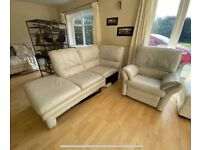 DFS leather sofa with electric recliner