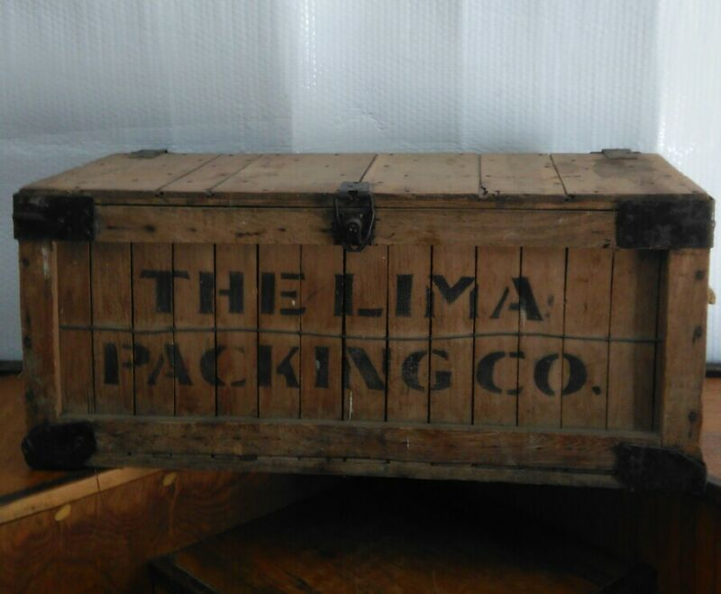 Antique Vintage The Lima Meat Packing Company Shipping Storage Crate Box