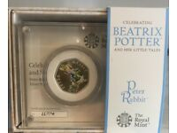 2018 Peter Rabbit coloured silver coin