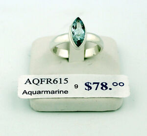 SAVE 50%. Aquamarine Sterling Silver Ring, size 9