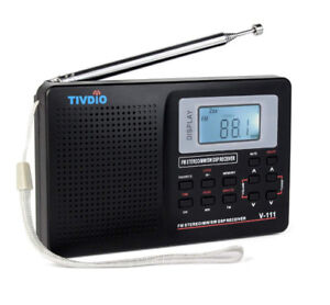 Portable AM FM Shortwave Radio Alarm Clock Battery Operated