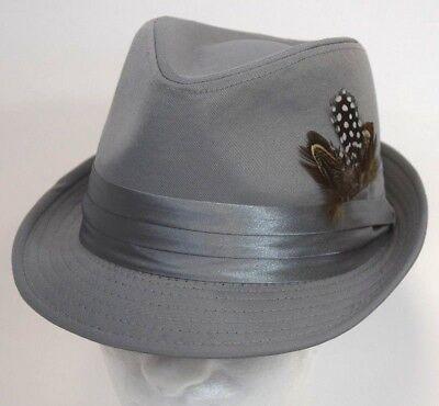 - Men's Fedora Dress Hat Cuban Style Upturn Short Brim Casual Cap Silver Gray