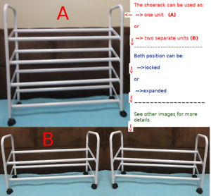 SHOE-RACK: can be expanded or divided into 2 units ($45 O.B.O.)