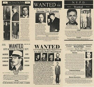 Set Of  6  Gangster Posters Wanted Capone Mobster Mafia Fbi Murder Police Crime