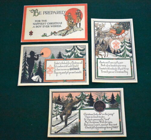 BOY SCOUT - FOUR EARLY CHISTMAS POSTCARDS - 1990