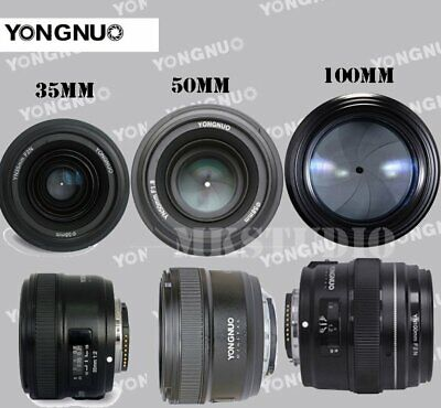 YONGNUO YN 35mm 50mm 100mm EF AF / MF Prime Fixed Lens FOR Nikon EOS Camera