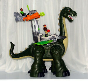 "14"" Fisher Price Imaginext Walking Roaring Dinosaur plus Figures"