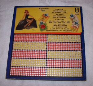 Vintage 40's Trade Stimulator Punch-board Game With Pin-up Girl