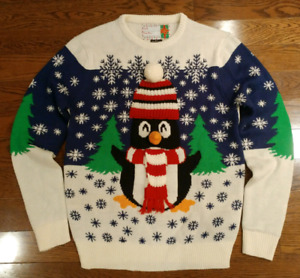 UGLY CUTE PENGUIN CHRISTMAS SWEATER MENS SMALL