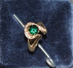 14kt Yellow Gold Size 6.5 Lab Emerald and Natural Diamonds Ring
