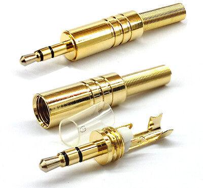 Gold 3.5mm 3 Pole Male Repair headphone Jack Plug Metal Audio Soldering & Spring on Rummage