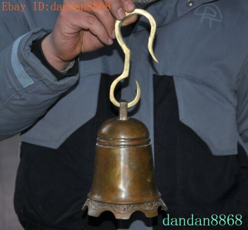 """11""""Old Chinese China Buddhism temple bronze statue Bell Chung chimes clock"""