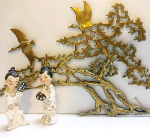 Vintage mcm brass bonsai tree