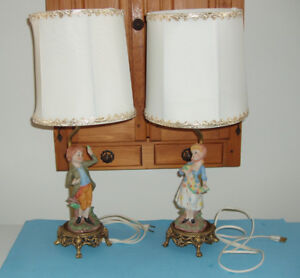 2 ANCIENNES LAMPES de CHEVET pour ELLE et LUI, 1947