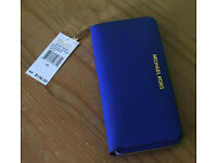 Michael Kors Travel Zip Around Electric Blue Saffiano Leather Wallet Purse