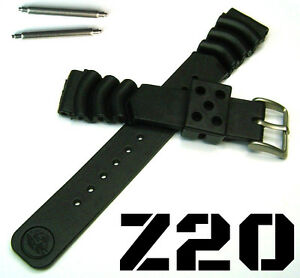 SEIKO-Z20-RUBBER-DIVERS-WATCH-BAND-BRACELET-DIVE-STRAP-20MM-FAT-SS-SPRINGBARS