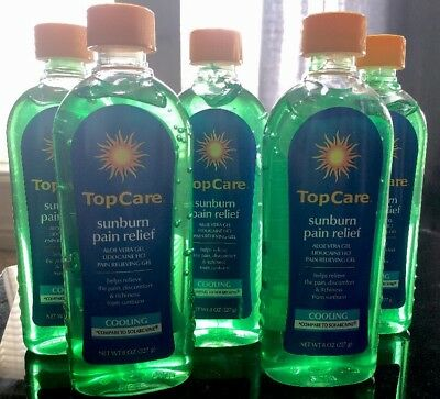 Lot Of 5 x 8oz TOP CARE SUNBURN PAIN RELIEF GEL WITH LIDOCAINE Aloe Vera COOLING Aloe Vera Pain Relief
