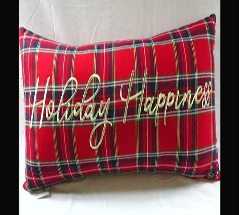 Holiday Happiness Plaid Long Decorative Pillow