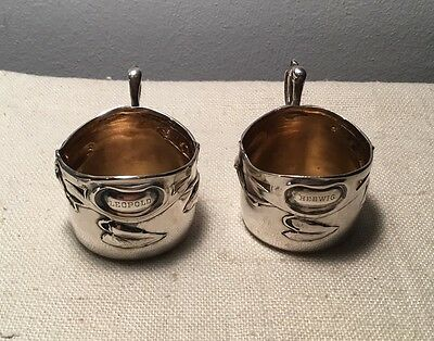 HJ Austrian Antique .800 Silver Pair Art Nouveau Handled Cups