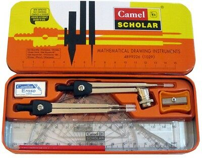 10-Piece Camlin Math Tool Set Drawing Instruments Exam Geometry Box Free Ship