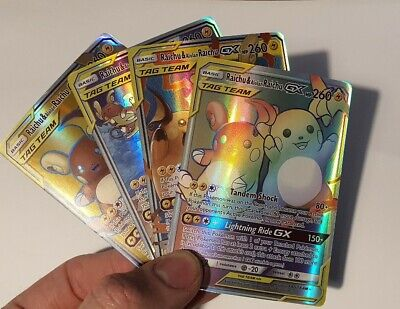 Raichu & Alolan Raichu Gx Proxy Tag Team Rainbow Rare Pokemon Card - 4 Cards...