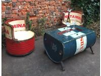 Original oil drum table and chairs