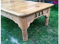 Beautiful chunky solid wood large coffee table. Lovely condition.