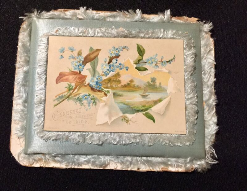 Antique CHRISTMAS Card S Hildesheimer & Co Victorian Silk Padded Frame Stand